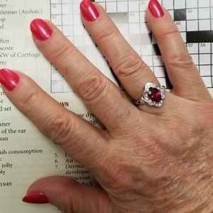 Sterling Silver Garnett Ring Size 6